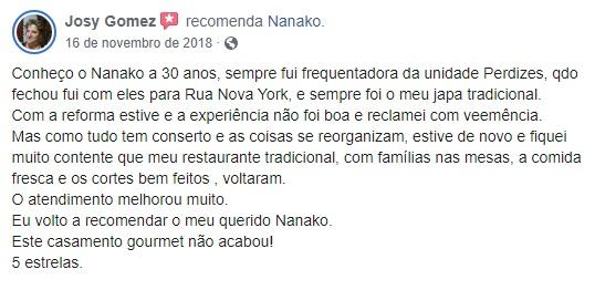 Recomendação Restaurante Nanako